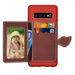 Leaf Magnetic Snap Litchi Texture TPU Protective Case for Galaxy S10, with Card Slots & Holder & Wallet(Red)