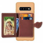 Leaf Magnetic Snap Litchi Texture TPU Protective Case for Galaxy S10, with Card Slots & Holder & Wallet(Green)
