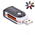 USB 2.0 All in One Memory Card Reader, Support SD / MMC / RS-MMC / Mini SD / TF / SDHC MMC / MMC TURBO Card, Support up to 32GB,