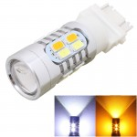 2PCS T25 10W 700LM Yellow + White Light Dual Wires 20-LED SMD 5630 Car Brake Light Lamp Bulb, Constant Current, DC 12-24V