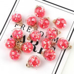 50pcs 16mm Colorful Transparent Glass Ball Star Charms Pendant(Red)