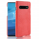 Shockproof Crocodile Texture PC + PU Case for Galaxy S10 5G (Red)