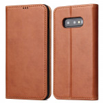Horizontal Flip PU Leather Case for Galaxy S10e, with Holder & Card Slot & Wallet (Brown)