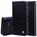 Business Style Oil Wax Texture Horizontal Flip Leather Case for Galaxy S10 E, with Holder & Card Slots & Wallet (Black)
