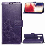 Lucky Clover Pressed Flowers Pattern Leather Case for Galaxy A8s, with Holder & Card Slots & Wallet & Hand Strap (Purple)