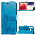 Lucky Clover Pressed Flowers Pattern Leather Case for Galaxy A8s, with Holder & Card Slots & Wallet & Hand Strap (Blue)