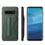 Fierre Shann Full Coverage Protective Leather Case for Galaxy S10+, with Holder & Card Slot (Green)