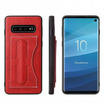 Fierre Shann Full Coverage Protective Leather Case for Galaxy S10+, with Holder & Card Slot (Red)