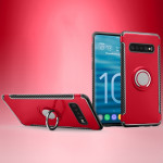 Shockproof Car Magnetic Case with 360 Degree Rotating Armor Ring for Galaxy S10(Red)
