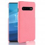 Shockproof Crocodile Texture PC + PU Case for Galaxy S10+ (Pink)