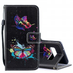 Colored Butterfly Pattern Horizontal Flip Leather Case for Galaxy S10+, with Holder & Card Slots & Wallet
