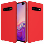 Shockproof Solid Color Liquid Silicone Case for Galaxy S10+ (Red)