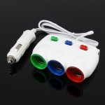 ELENO Y-071 120W / 5V / 3.1A 1 to 3 Car Cigarette Socket with 2 USB Ports for Charging, Cable Length: 80cm(White)
