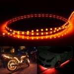 Yellow Light Normally-on Style 45 LED 3528 SMD Waterproof Flexible Car Strip Light for Car Decoration, DC 12V, Length: 45cm
