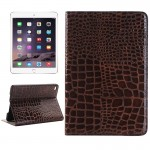 Smart Cover marron pour iPad Mini 4 cartes et portefeuille Crocodile Texture Horizontal Flip Smart étui en cuir avec titulair...