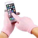HAWEEL Three Fingers Touch Screen Gloves for Women(Pink)