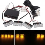 4 x 3 LED Car Front Grille Police Warning Lights Yellow Flashing Waterproof Emergency Strobe Light Lamp, DC 12V, Pack of 4
