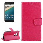 Crazy Horse Texture Horizontal Flip Leather Case with Holder & Card Slots & Wallet & Photo Frame for Google Nexus 5X(Magenta)