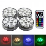 4 PCS 10-LED Colorful Remote Control Decoration Diving Lamp with Remote Control(White)