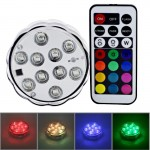 10-LED Colorful Remote Control Decoration Diving Lamp with Remote Control(White)