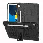 Tire Texture TPU+PC Shockproof Case for iPad Pro 11 inch (2018), with Holder & Pen Slot (Black)
