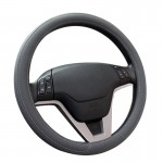 Car Microfiber Leather Steering Wheel Cover (Colour: Grey, Adaptation Steering wheel diameter: 38cm)