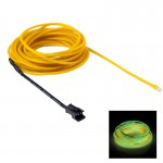 EL Cold Yellow Light Waterproof Round Flexible Car Strip Light with Driver for Car Decoration, Length: 5m(Yellow)