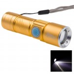 Cree Q5 LED 3-Mode White Light Retractable Flashlight with Lanyard(Gold)