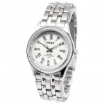 White Dial Men Diamond Quartz Stainless Steel Watch / Couple Watch (8802)(Silver)