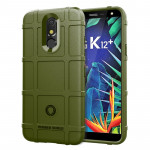 Shockproof Rugged Shield Full Coverage Protective Silicone Case for LG K12+ (Army Green)