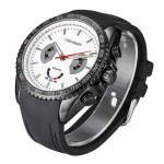 CAGARNY 6827 Fashionable Majestic Student Quartz Sport Wrist Watch with Silicone Band for Men(Black Case White Window)