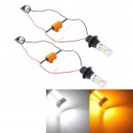 2 PCS T20/7440 10W 1000LM 6000K White + Yellow Light DRL&Turn Light with 20 SMD-5730-LED Lamps,DC 12-24V