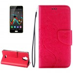 Wiko U Feel Lite Pressed Flowers Horizontal Flip Leather Case with Magnetic Buckle & Holder & Card Slots & Wallet(Magenta)