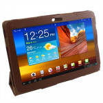 Leather Case with Holder for Samsung Galaxy Tab P5100 (Brown)