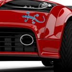 3D Car Wall Decal Stickers Metal Gecko Texture Shape With Blue Diamond, Realistic Rich-design Car Decoration