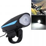 125 / 250LM 3 Modes USB Rechargeable LED Bright Light with Horn & Handlebar Mount(Blue)