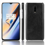 Litchi Texture PC + PU Shockproof Case for OnePlus 7(Black)