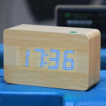 Blue Number USB / Battery Wooden Clock with Voice Control (Alternately display time, month & date and temperature)