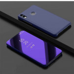 Electroplating Mirror Horizontal Flip Leather Case for Xiaomi Redmi Note 7/Redmi Note 7 Pro with Holder(Violet blue)