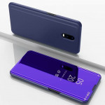 Electroplating Mirror Horizontal Flip Leather Case for OnePlus 7 Pro, with Holder(Violet blue)
