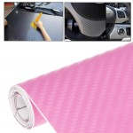 Car Decorative 3D Carbon Fiber PVC Sticker, Size: 152cm x 50cm(Pink)