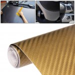 Car Decorative 3D Carbon Fiber PVC Sticker, Size: 152cm x 50cm(Gold)