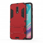 Shockproof PC + TPU Case for 一加7 / 一加6T , with Holder(Red)