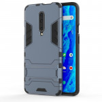 Shockproof PC + TPU Case for OnePlus 7 Pro, with Holder(Navy Blue)