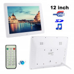 12.0 inch Digital Picture Frame with Remote Control Support SD / MMC / MS Card and USB , White (1200)(White)
