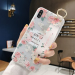 Flowers Pattern Wrist Strap Soft TPU Protective Case For iPhone XR(Flowers wrist strap model A)