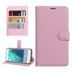 For Google Pixel Litchi Texture Horizontal Flip Leather Case with Holder & Card Slots & Wallet(Pink)