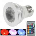 3W RGB LED Spotlight Bulb with Remote Control, Base Type: E27