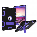 Contrast Color Silicone + PC Shockproof Case for iPad 9.7 inch (2018/2017), with Holder (Purple)