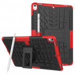Tire Texture TPU+PC Shockproof Case for iPad Air 2019 / Pro 10.5 inch, with Holder & Pen Slot(Red)
